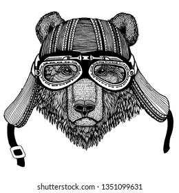 Wild bear biker animal wearing motorcycle helmet. Hand drawn image for tattoo, emblem, badge, logo, patch, t-shirt.