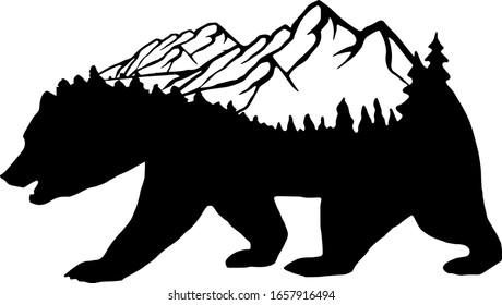 wild bear, black and white silhouette