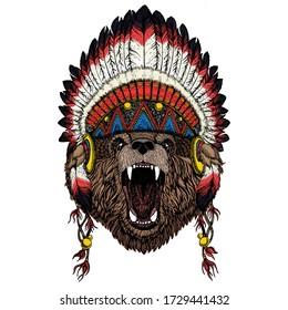Wild bear. Portrait of animal for emblem, logo, tee shirt. Indian traditional headdress.