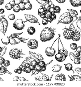 Wild berry seamless pattern drawing. Hand drawn vintage vector background. Summer fruit set of strawberry, cranberry, currant, cherry, srawberry, blueberry. Food for menu, label, banner, tea or jam
