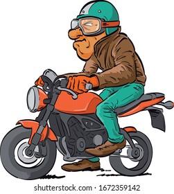 Wild biker with leather jacket