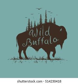wild bison with forest on him. Vintage old label. Hand drawn vector illustration