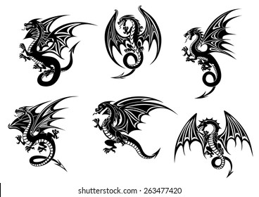 Wild black dragons for tattoo or mascot design