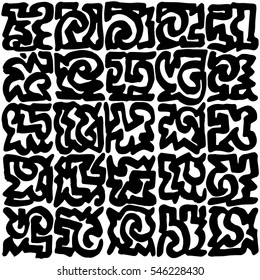 Wild black marker lines generated squares pattern on white base
