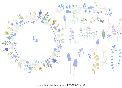 Wild blue floral elements for your design. Stylized cute herbs, leaves and flowers