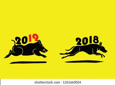 A wild boar bearing the number 2019 chasing away a dog bearing number 2018 for the concept Year of the Pig coming after Year of Dog. Vector illustration.