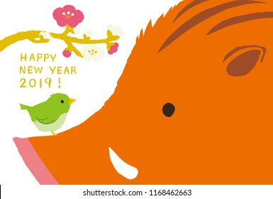 Wild boar and bush warbler with plum blossom for New Year's Day. 2019 new year's card