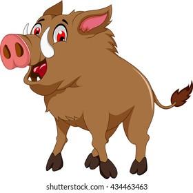 wild boar cartoon for you design