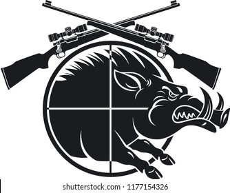 wild boar in gun scope crosshair sight and crossed hunting rifles