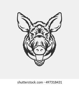 Wild boar head logo or icon in one color. Stock vector illustration.