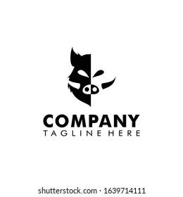 Wild boar logo design template