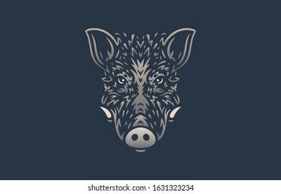 Wild boar logo on dark background