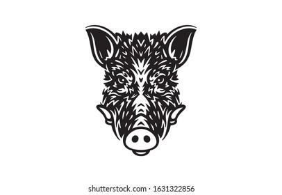 Wild boar logo white on black background