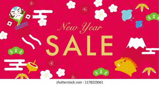 Wild boar and lucky charm Japanese New Year's card background.New Year sale poster.