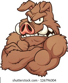 Wild boar mascot. Vector clip art illustration with simple gradients. All in a single layer.