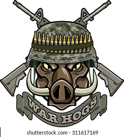 wild boar with military helmet and crossed assault rifles
