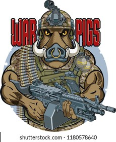 wild boar in military outfit holding machine gun and text war pigs