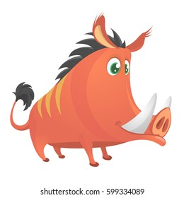 Wild boar or wild pig cartoon. Vector illustration or icon isolated