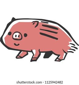 a wild boar piglet(woodblock print design)