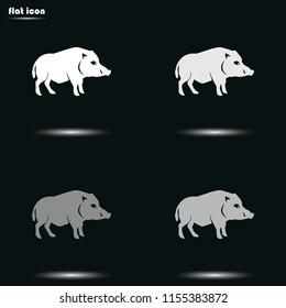 Wild boar silhouette flat grayscale vector icon.