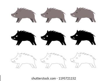 wild boar vector illustration: icon