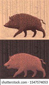 Wild boar is walking in the forest. Design set. Hand drawn engraving. Editable vector vintage illustration. Isolated on light and dark background. 8 EPS