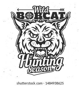 Wild bobcat icon, hunting season and hunter club badge or t-shirt print template. Vector hunt trophy lynx animal roaring with fangs and hunter crossbow arrow, sport society poster