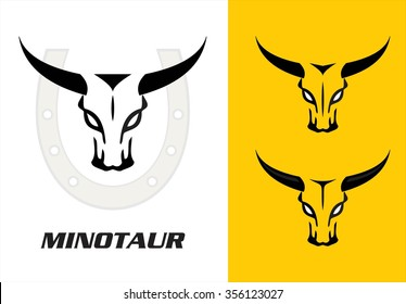 Wild bulls, three wild bulls head with the bold horn combine with the horseshoe icon at the background