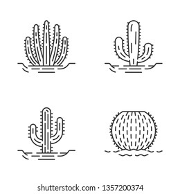 Wild cacti in ground linear icons set. Succulents. Spiny plants. Barrel cactus, saguaro, mexican giant, organ pipe cactus. Thin line contour symbols. Isolated vector outline icons. Editable stroke