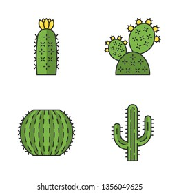 Wild cactus color icons set. Desert flora. Succulents. Spiny plants. Prickly pear, barrel, hedgehog cactuses, saguaro. Isolated vector illustrations