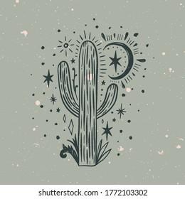Wild cactus. Desert Arizona moonchild. Vintage concept. Mexico culture. Harmony and zen. Crescent moon magic. Vector illustration.