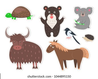 Wild cartoon animals stickers isolated on white background. Small turtle, brown bear, black and white magpie, cute coala bear, barbed hadgehog, fluffy yak and funny horse vector illustrations set.