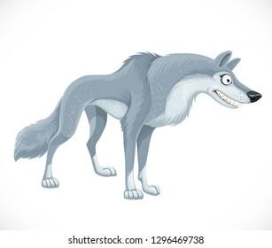 Wild cartoon gray wolf isolated on white background