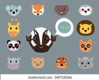 Wild cartoon say hello concept . Flat vector illustration for web page.