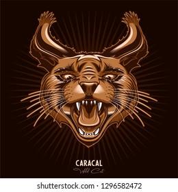 Wild Cat Caracal T-Shirt Print, Logo, Emblem, Sticker, Label