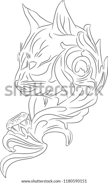 Wild Cat Diamond Tattoo Sketch On Stock Vector Royalty Free