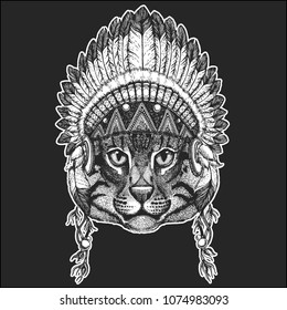 Wild cat Fishing cat Cool animal wearing native american indian headdress with feathers Boho chic style Hand drawn image for tattoo, emblem, badge, logo, patch