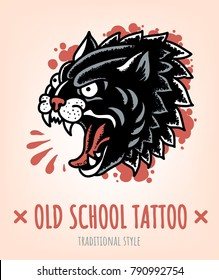 Wild Cat Old School Tattoo traditional Style. Vector Illustration.