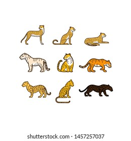 Wild cats icon set. Different type of wild cats. Vector illustration for prints, clothing, packaging, stickers, stickers.