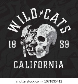 Wild Cats motorcycle vector graphic and collage texture