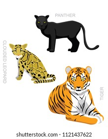 Wild Cats Set Clouded Leopard Tiger Panther Cartoon Vector Illustration