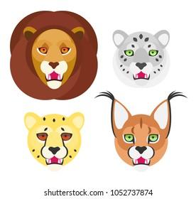 Wild cats set. Lion, snow leopard, cheetah, caracal. Vectors.
