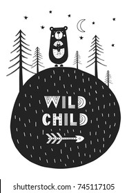 Wild child - Cute hand drawn nursery poster with cartoon animal and lettering in scandinavian style. Monochrome vector illustration.