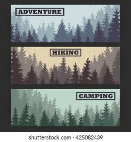 Wild coniferous forest banners; pine tree, landscape nature, wood natural panorama; outdoor adventure camping, hiking, tourism, design template; vector illustration