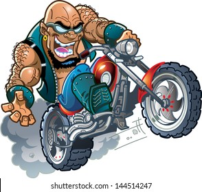 Wild Crazy Bald Smiling Biker Dude with Sunglasses on Motorcycle