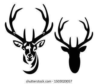 wilder Hirschkopf mit großen Anglern, Vorderansicht schwarz-weißer Vektorsilhouette und Umriss
