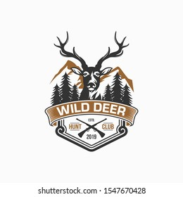 wild deer vintage logo design vector template