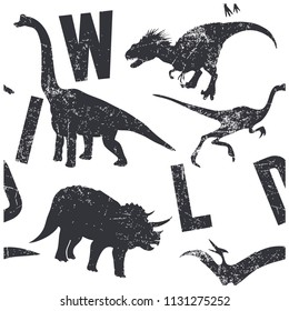 Wild dinosaurs seamless pattern. Funny graphic design for kids.
