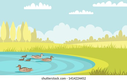 Wild ducks swim in pond flat vector illustration. Tranquil mallards with ducklings. Waterbird family in lake. Summer scenery green meadow with trees and poultry in water. Mother bird with babies