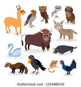 Wild Europe animals set in flat style isolated on white background. Including mole, bison, capercaillie, lanner Falcon, scops owl, roe deer, raven, lynx, wildcat, mute swan,